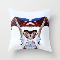 american Throw Pillows featuring AMERICAN by Paparrazzi666