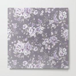 VINTAGE FLORAL MAUVE ROSES PATTERN DARK Metal Print