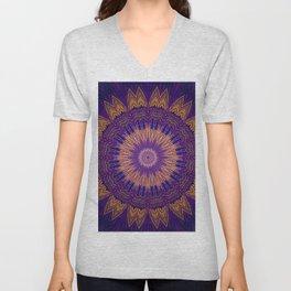 Dark Purple Gold Mandala Design Unisex V-Neck