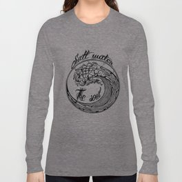 Salt water soothes the soul, big wave icon on blue grunge base.  Long Sleeve T-shirt