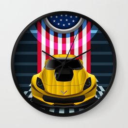 The Yellow King Corvette C7 Wall Clock