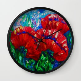 3 Poppies  by Lena Owens Wall Clock