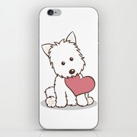 westie iPhone & iPod Skins featuring Westie Dog with Love Illustration by Li Kim Goh