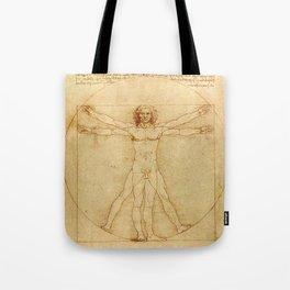 Le proporzioni del corpo umano secondo Vitruvio, Leonardo da Vinci, 1490 Tote Bag