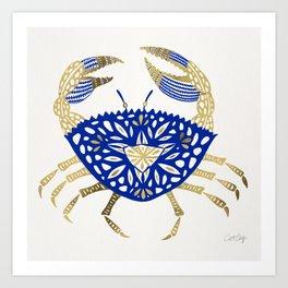 Crab – Navy & Gold Art Print