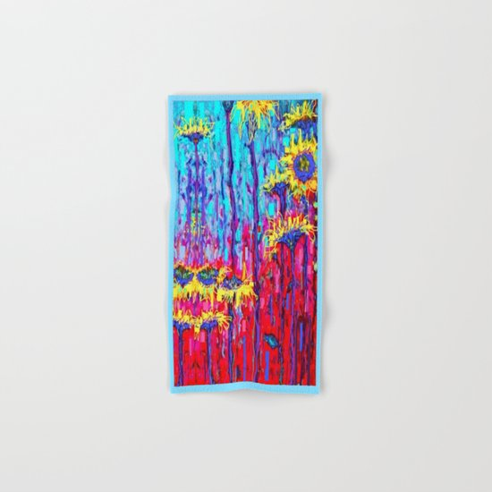Sunflower Field  in Moonlight Abstract Hand & Bath Towel