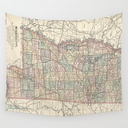 Vintage Map of Mississippi (1891) Wall Tapestry