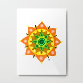 Summer Tribal Mandala Metal Print