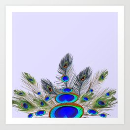 GREEN PEACOCK FEATHER & JEWELS #2 Art Print