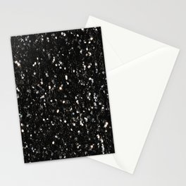 Black and white shiny glitter sparkles Stationery Cards