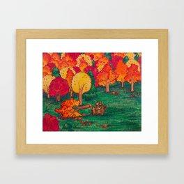 Beaver Chomps a Tree Framed Art Print