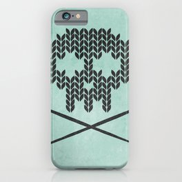 Knitted Skull / Knitting with Attitude (black on vintage aquamarine) iPhone Case