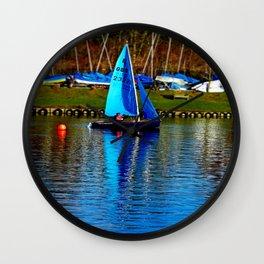Little Blue Sailboat  Wall Clock