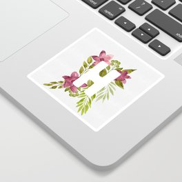 Monogram H with red watercolor flowers and leaves. Floral letter H Sticker