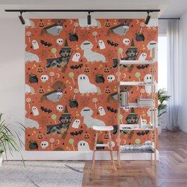 Dachshund dog breed halloween cute pattern doxie dachsie dog costumes Wall Mural