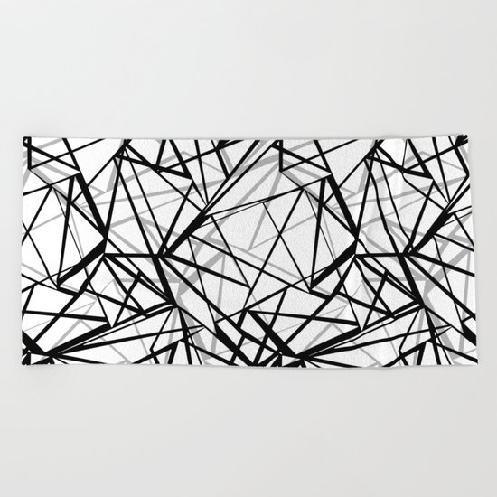 Black and white abstract geometric pattern . Beach Towel