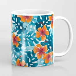 Tropical Hibiscus Pattern Orange Coffee Mug
