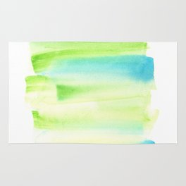 [170105] 8 Color Study Blue Green |Watercolor Brush Stroke Rug