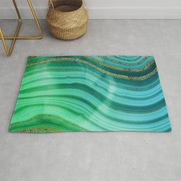 Ocean Blue And Green Mermaid Glamour Marble Rug