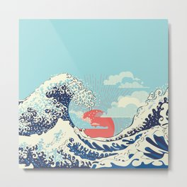 The Great Wave off Kanagawa stormy ocean with big waves Metal Print