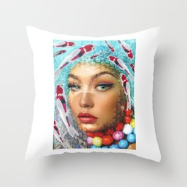 WomanFish Throw Pillow