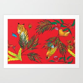 RED TIGER PATTERN Art Print