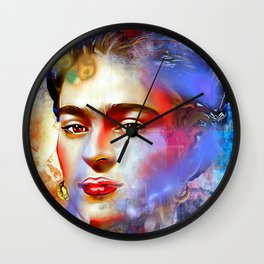 Frida Kahlo Painted Wall Clock