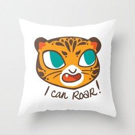 Baby Big Cats Roaring Tiger Throw Pillow