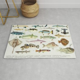 Illustrated Colorful Southern Pacific Ocean Exotic Game Fish Identification Chart No. 3 Rug