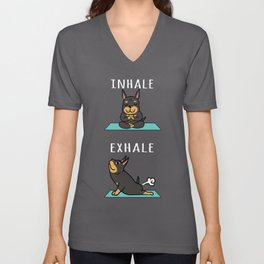 Doberman Yoga Inhale Exhale Unisex V-Neck