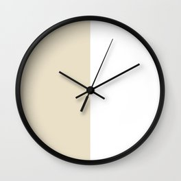 White and Pearl Brown Vertical Halves Wall Clock