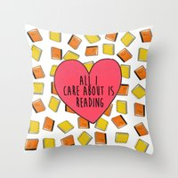 reading Throw Pillows featuring reading by Synne Vestvik