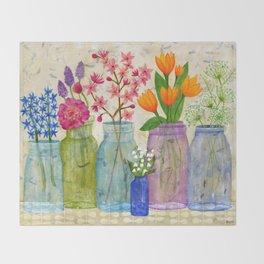 Springs Flowers in Old Jars Throw Blanket