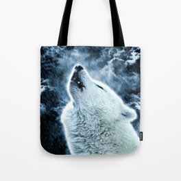 A howling wolf in the rain Tote Bag