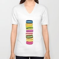 macaroons V-neck T-shirts featuring Macaroons by Pea Press