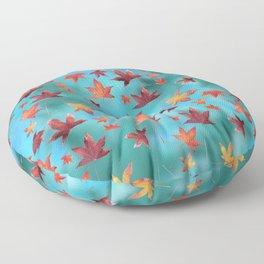 Dead Leaves over Cyan Floor Pillow