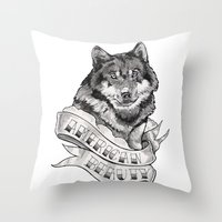 american beauty Throw Pillows featuring American Beauty by Robin Elizabeth Art