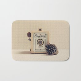 Retro Camera and Pine Cone Bath Mat