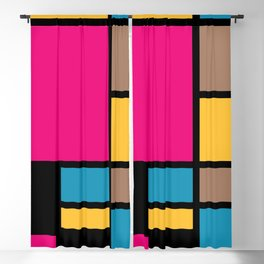 Mondrian style modern cool colors 1 Blackout Curtain
