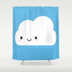 Happy Kawaii Cloud Shower Curtain