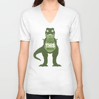 david V-neck T-shirts featuring Amourosaurus by David Olenick