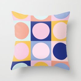 Colorful Circles in Squares Throw Pillow