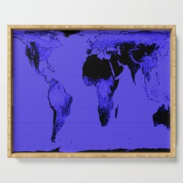 World Map: Gall Peters Indigo Purple Serving Tray