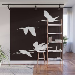 White Silhouette of Glossy Ibises In Flight Wall Mural