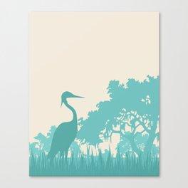 Crane in the Swamp Canvas Print