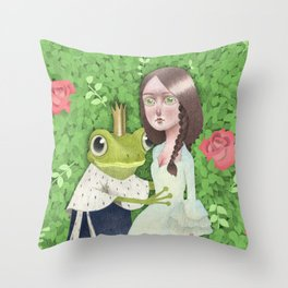 Fairytale Frog king and the princess Throw Pillow