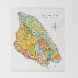 Mackinac Island Illustrated Map Throw Blanket