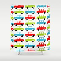 cars Shower Curtains featuring cars by laura mendoza v.