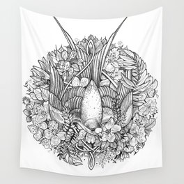 Bird in Black and White Wall Tapestry