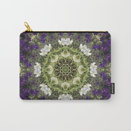 Icy White and Rich Violet Petunias Kaleidoscope Carry-All Pouch